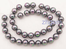"""10mm rainbow black round shell mother of pearl loose beads 15.5"""" necklace making"""