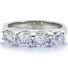 Ring Platinum Band Gia cert. F Vs 1 carat 4 Round Diamond Anniversary Wedding