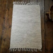 Cotton Hand Made Fair Trade Hand Loom Rug Quality Indian 100%  60 x 90cm Natural
