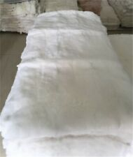 "Genuine Real White Rabbit FUR Plates Pelz Blanket Throw  22""x45"" FUR Rug Carpet"