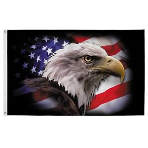 """Valley Forge """"America Strong"""" Eagle Flag 3' x 5' Nylon Outdoor Printed"""