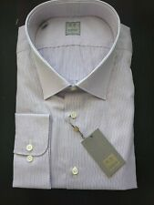GOLD LABEL Fancy Ike Behar New York TULIP Gray PURPLE Striped Shirt 18 1/2 34/35