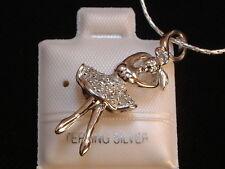 Ballerina - plastisch - besetzt mit Diamanten - Silber -925- Kette & Anhänger !