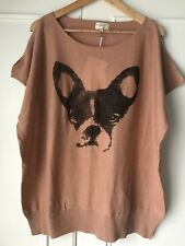 New With Tags French Bulldog Design Fine Knit Sweater, Tan,cotton