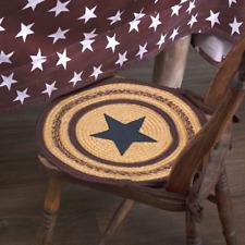 New ! Primitive Country Farmhouse Potomac Burgundy Jute Applique Star Chair Pad