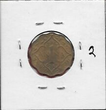 INDIA BRITISH 1 ANNA 1943 XF-AU GEORGE VI,SECOND HEAD,LOW RELIEF,LARGE CROWN,LEG