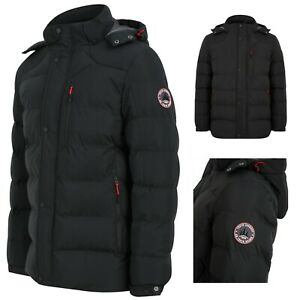 Men's Tokyo Laundry Black Quilted Puffer Jacket Hooded Bubble Coat Padded New