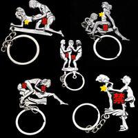 1Pc Simulation Make Love HAPPY MAN Metal Key Chain Keyring Keyfob Couple Pendant
