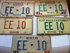Ohio License Plate Plates EE-10 From 1960's 1970's 1980's 1990's All Identical