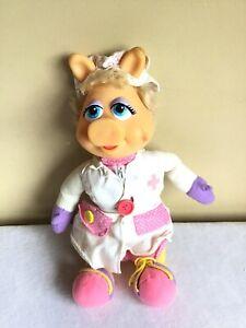 "Vintage 1990 Mattel Inc Muppets Miss Piggy Learn To Dress Plush Doll 15"" Tall"
