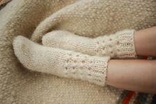 Hand Knitted Ladies Wool Socks Handmade White Knitted Warm Winter Slippers Socks