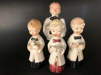 Vintage 50's Porcelain Christmas Choir Boy Figurines Marked Japan