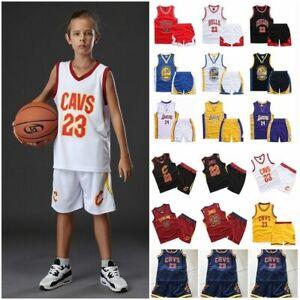 UK Kids Boys Basketball Kit Training Suit Sport Vest Shirt Shorts Set Tracksuit
