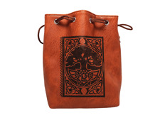 Brown Leather Lite Spell Book Design Self-Standing Large Dice Bag