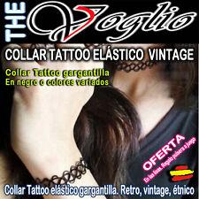 Collar Gargantilla y Pulsera Tattoo Mujer Pedrería Necklace Women Vintage Etnica