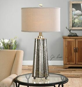 "SULLIVAN 33"" MODERN MOTTLED MERCURY GLASS TABLE LAMP BRUSHED NICKEL METAL"