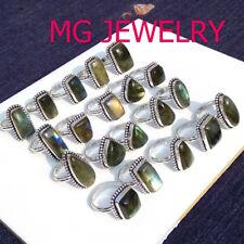 Bulk Sale ! Wholesale Lot 10Pcs Labradorite Ring 925 Sterling Silver Plated Lot