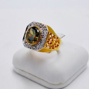 MEN RING GREEN PERIDOT 24K YELLOW GOLD FILLED GP SOLITAIRE POPE ESTATE SIZE 7.75