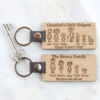 Family Member Personalised Engraved Wooden Oak Keyring, Birthday Gifts, Dad, Mum