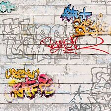 WHITE GRAFFITI WALLPAPER ROLLS - A.S.CREATION (93561-1)