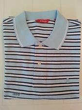 New IZOD Men's Oxford Stripes Polo Shirt Sky Blue Size Large 100% Cotton