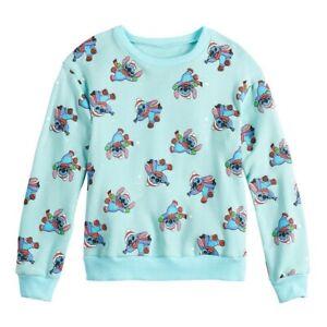 Disney's Stitch Christmas Girl's Long Sleeve Pullover Sweatshirt Size S 7/8