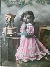 cpa fille telephone postcard antique phone girl carte postale ancien ak telefon