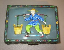 New listing Antique Chinese Cloisonne Enamel Brass Humidor~Cigarette Box Glass Top