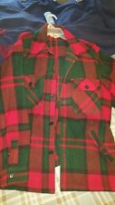 Mens Woolrich Vintage Red Green Plaid 100% Wool Shirt Jacket Coat Large