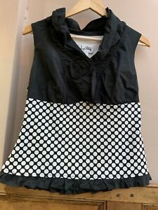 Black & White Polka Dot Sleeveless Top with coursage By Joseph Ribkoff 14uk