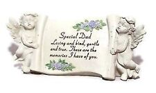 David Fischhoff Cream Special Dad Message Cherub Ornament Scroll Memorial Stone