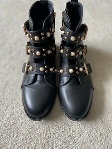 Miss KG By Kurt Geiger Boots Black Pearl Strap Detail 7/40 Ex Condition. Boxed.