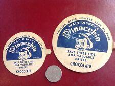 Two Different Pinocchio Ice Cream Cup Lids, 1940 Walt Disneys