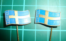 Sweden Sverige flag stick pin Badge 60s vtg 2pcs Zweden vlag speldje