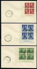 Australia 1947 Newcastle set - Imprint Blocks of 3 - 3 x plain Fdcs