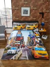 NEW YORK YELLOW TAXI CAB & SKYSCRAPER DOUBLE DUVET & 2 PILLOW SET