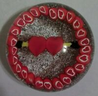 Vintage Murano Millefiori Hearts and Arrow Valentine Art Glass Paperweight