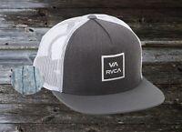 New RVCA VA All The Way Box Trucker III Charcoal White Snapback Cap Hat