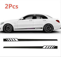 Pair Auto Body Graphic Stickers Sports Racing Race Car Long Stripe Decals
