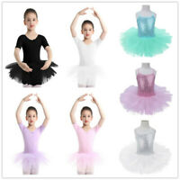 Girls Ballet Leotard Dress Kids Ballerina Dancewear Gymnastic Tutu Skirt Costume
