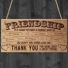Friendship Plaque THANK YOU For Being A Great Friend Wooden Plaque Sign Gift