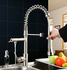 Pull Out Spray &Swivel Kitchen Brushed Nickel Finish Sink Faucet Taps Mixer
