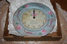 "NIB The Tick Tock Clock Co. 13"" Round Wall - Paris Rose Fleuriste Antique Design"