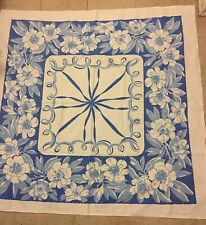 """Bright Vintage  Floral Tablecloth Shades of Blue and White Print Cotton 48"""" X48"""""""