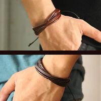 Mens Boys Handmade Leather Braided Surfer Wristband Bracelet Bangle Wrap Gift