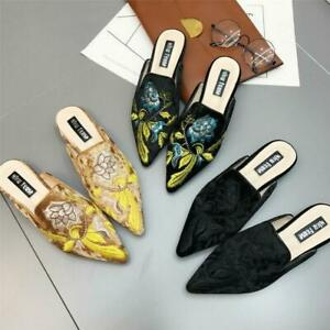 Womens Embroidery Floral Pumps Shoes Velvet Pointed Toe Mules Summer Slippers