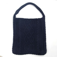 ARAN tradizioni Navy Blue Cable Knit TOTE shopping bag