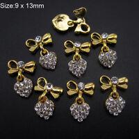 10Pcs/Pack 3D Rhinestones Bow Heart Nail Art Glitter Decoration Metal Charms