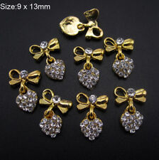 Lots 10Pcs 3D Rhinestones Bow Heart Nail Art Glitter Decoration Metal Charms