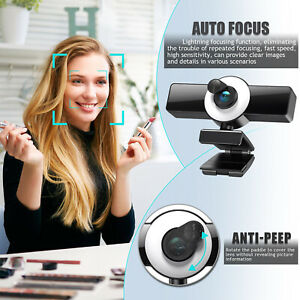Webcam 120-degree Wide Angle for PC Video Calling Recording Live Streaming